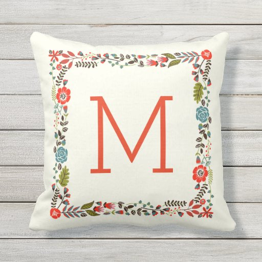 Monogram pretty spring floral border teal, red throw pillow