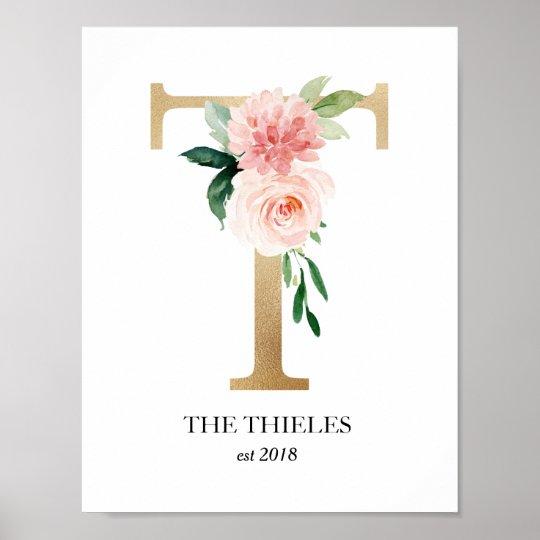 Monogram Print Letter T Wedding Gift Nursery Poster Zazzle Com