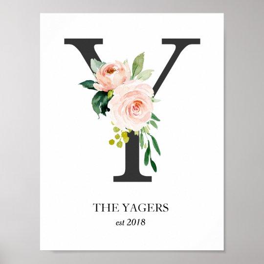 Monogram Print Letter Y Wedding Gift Nursery Poster Zazzle Com