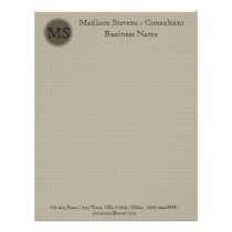Monogram Professional Beige Brown Letterhead