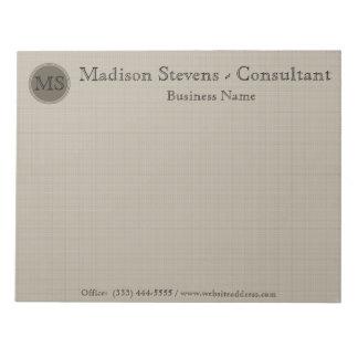 Monogram Professional Beige Brown Notepad
