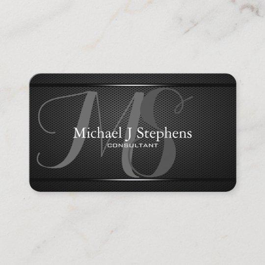 monogram professional black metal textured business card - Textured Business Cards