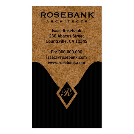 Black Pinstripes and Tan Textured Monogram Architect Business Cards
