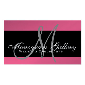 Monogram Professional Business Cards Pink Silver