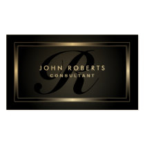 Monogram Professional Elegant Modern Black Double-Sided Standard Business Cards (Pack Of 100)