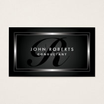 Monogram Professional Elegant Modern Black Business Card