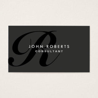 Monogram Professional Elegant Modern Black Business Card at Zazzle