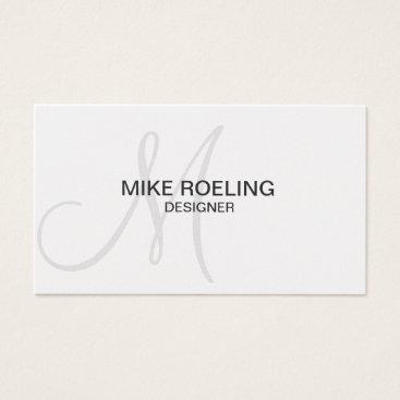 arcueid Monogram Professional Elegant Modern Grey Business Card