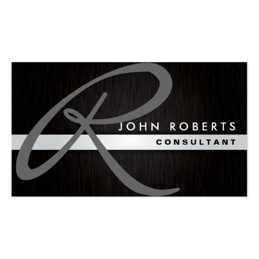 Monogram Professional Elegant Modern Metal Black Business Card Template