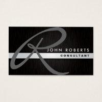 Monogram Professional Elegant Modern Metal Black Business Card