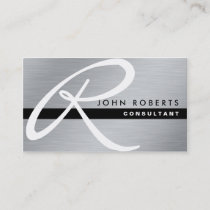 Monogram Professional Elegant Modern Silver Metal Business Card