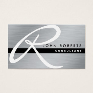 Metal business cards 4000 metal business card templates monogram professional elegant modern silver metal business card reheart Gallery