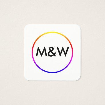 Professional Business Monogram Professional Elegant (rainbow) Square Business Card