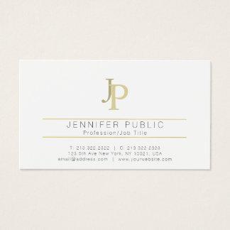 Monogram Professional Modern Elegant White Gold Business Card
