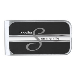 Monogram Professional Style -Silver Gray and Black Silver Finish Money Clip