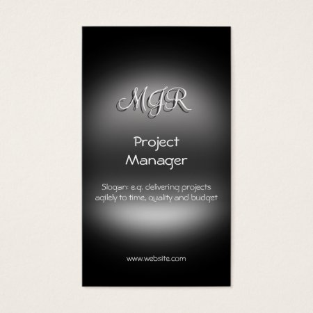 Monogram, Project Manager, metal-look Business Card