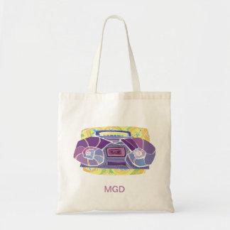 monogram Psychedelic boombox Custom text Tote Bag