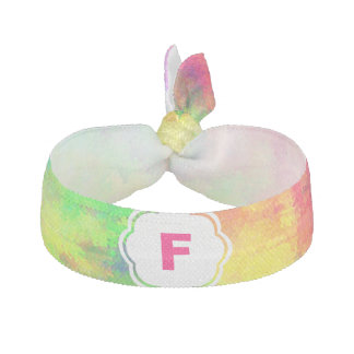 Monogram Psychedelic Rainbow Watercolor Art School Ribbon Hair Tie