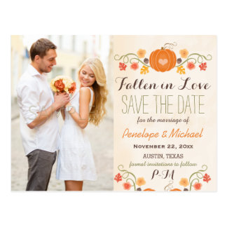 Monogram Pumpkin Fall Wedding Save the Date Postcard