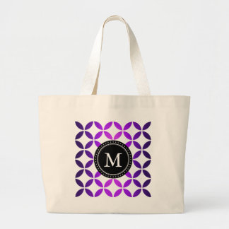 Monogram Purple Abstract Circles and Diamonds Large Tote Bag