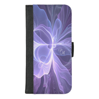Monogram Purple Abstract Modern Fractal iPhone 8/7 Plus Wallet Case