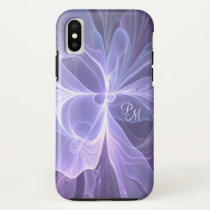 Monogram Purple Abstract Modern Fractal iPhone X Case