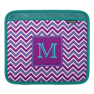 Monogram Purple and Aqua Chevron iPad Sleeve