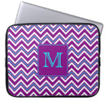 Monogram Purple And Aqua Chevron Laptop Sleeve at Zazzle