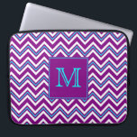 "Monogram Purple and Aqua Chevron Laptop Sleeve<br><div class=""desc"">Monogrammed Laptop Sleeve with Purple and Aqua Zig Zag pattern. Change monogram to your own. Initial framed in purple square with aqua border</div>"