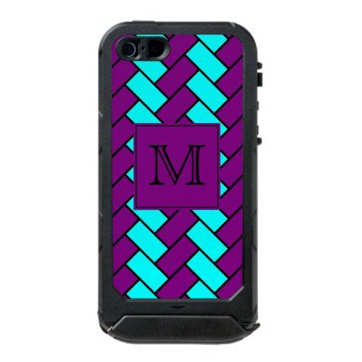 Case Design aqua phone case : Monogram Purple and Aqua Herringbone Waterproof Case For iPhone SE/5 ...