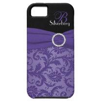 Monogram Purple and Black Damask iPhone 5 Vibe iPhone SE/5/5s Case