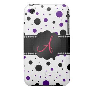 Monogram purple and black polka dots iPhone 3 covers