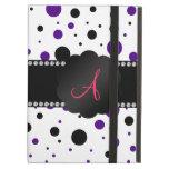 Monogram purple and black polka dots iPad cases