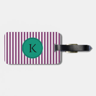 Monogram Purple and Emerald Green Stripes Pattern Bag Tag