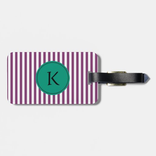 Monogram Purple and Emerald Green Stripes Pattern Tags For Luggage