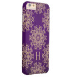Monogram Purple and Gold Exotic Medallion Barely There iPhone 6 Plus Case
