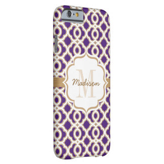 Monogram Purple and Gold Quatrefoil Barely There iPhone 6 Case
