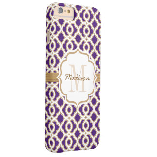 Monogram Purple and Gold Quatrefoil Barely There iPhone 6 Plus Case