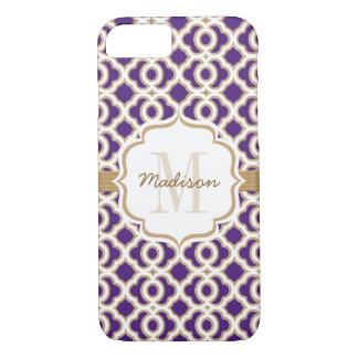 Monogram Purple and Gold Quatrefoil iPhone 7 Case