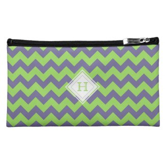 Monogram: Purple And Green Chevron Pattern Bag Cosmetic Bags