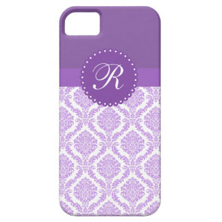 Monogram Purple and Lavender Damask iPhone 5 Cover