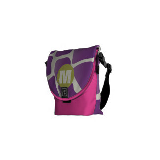 Monogram Purple and Lime Giraffe Pattern Courier Bag