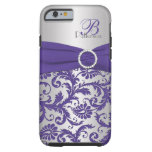 Monogram Purple and Silver Damask iPhone 6 case