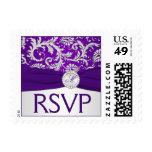 Monogram Purple and Silver Damask RSVP Postage