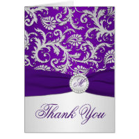 Monogram Purple and Silver Damask Thank You Card