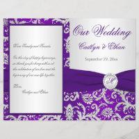 Monogram Purple and Silver Damask Wedding Program