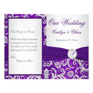 "Monogram Purple and Silver Damask Wedding Program 8.5"" X 11"" Flyer"
