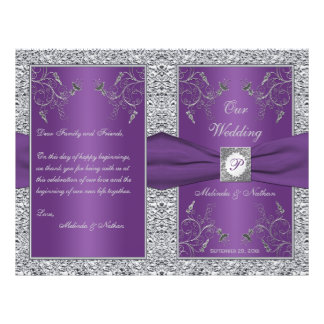 Monogram Purple and Silver Floral Wedding Program