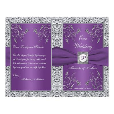 Monogram Purple and Silver Floral Wedding Program