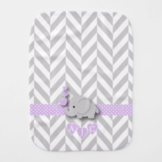 Monogram Purple And White Chevron Baby Elephant Baby Burp Cloth
